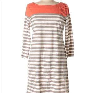 Coral and Taupe striped T-shirt dress